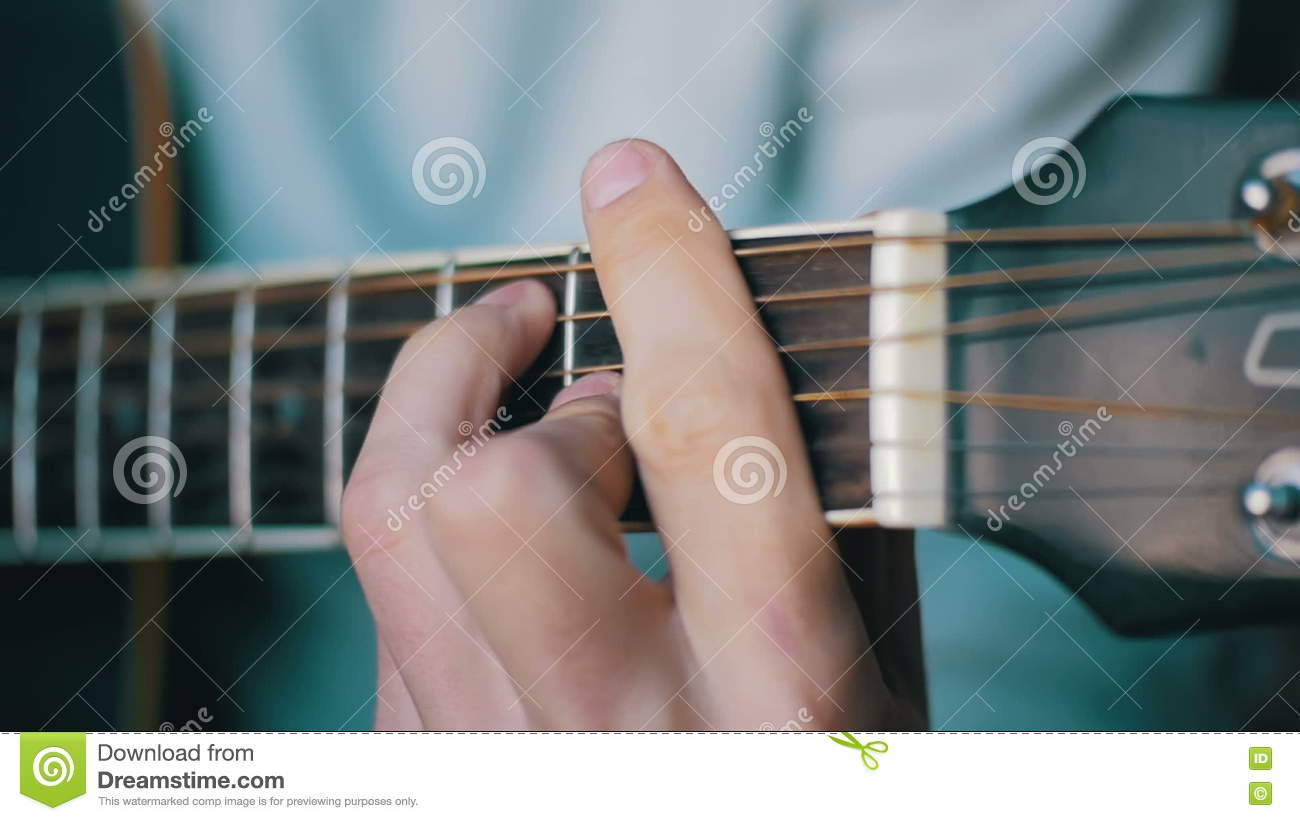Man Playing Acoustic Guitar Slow Motion Stock Footage Video Of