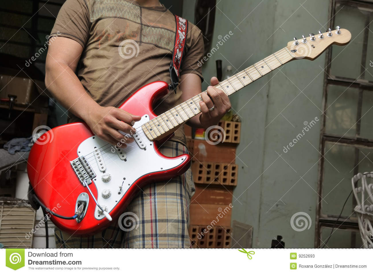man playing electric guitar stock photos image 9252693. Black Bedroom Furniture Sets. Home Design Ideas