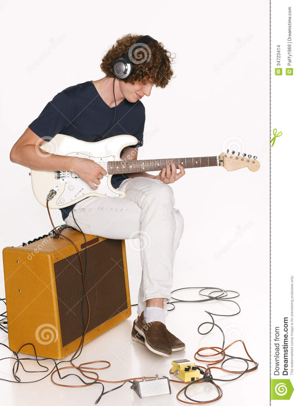 man playing electric guitar stock images image 34723414. Black Bedroom Furniture Sets. Home Design Ideas