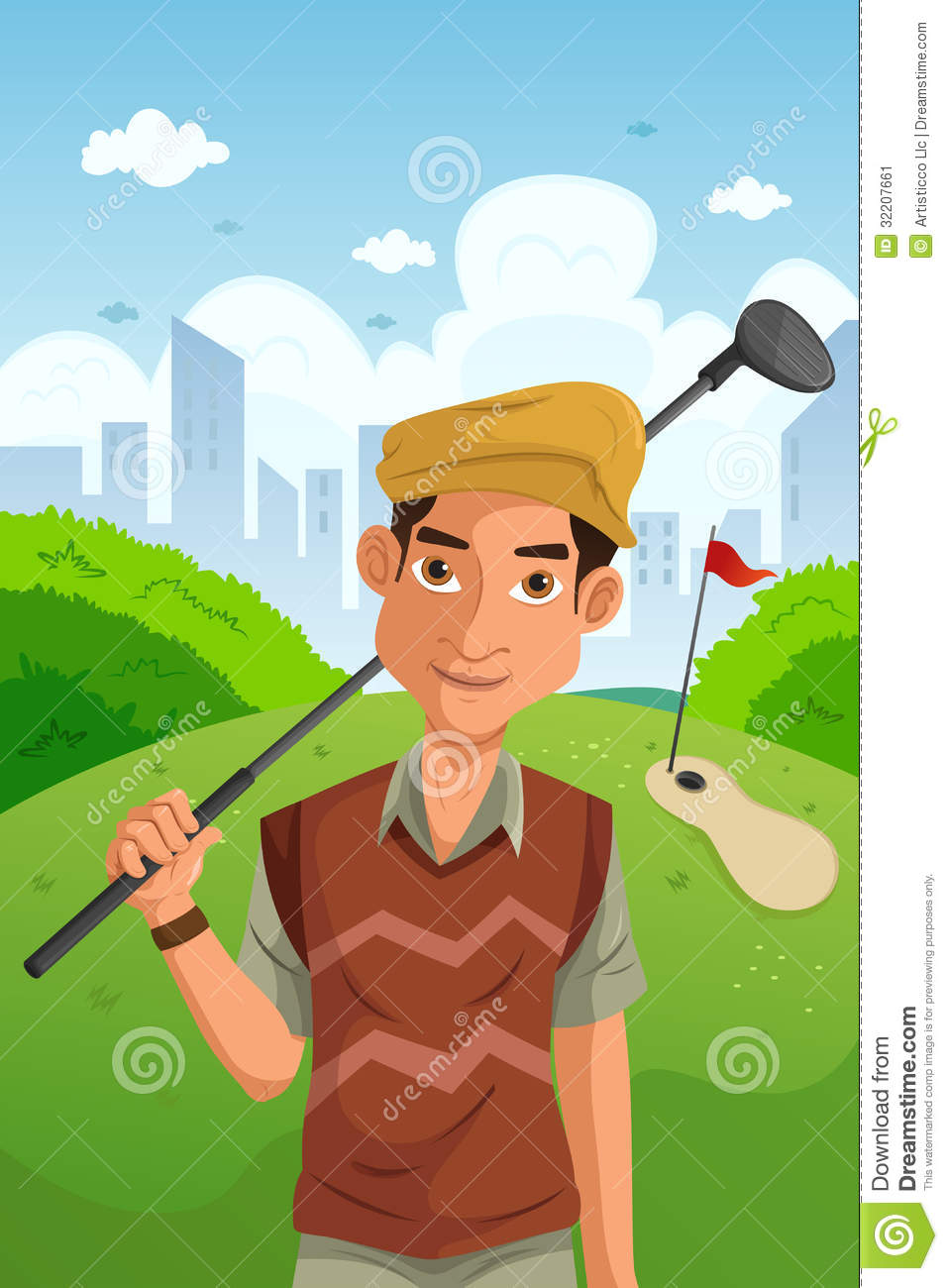 Man Playing Golf Stock Vector Illustration Of Clipart 32207661