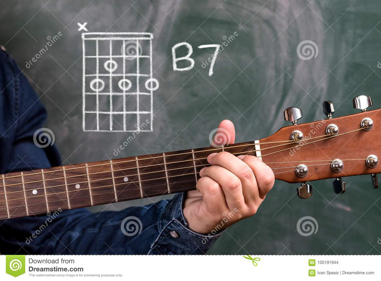 Man Playing Guitar Chords Displayed On A Blackboard Chord B7 Stock