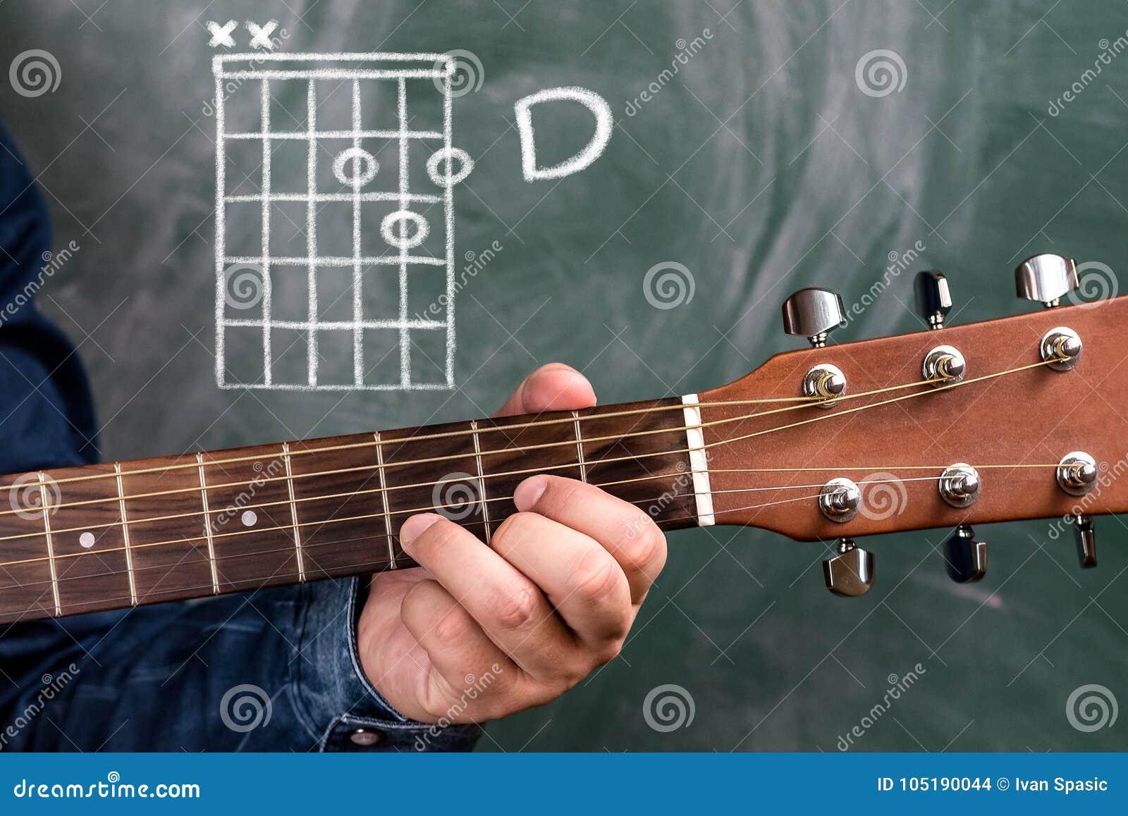 Man Playing Guitar Chords Displayed On A Blackboard Chord D Stock