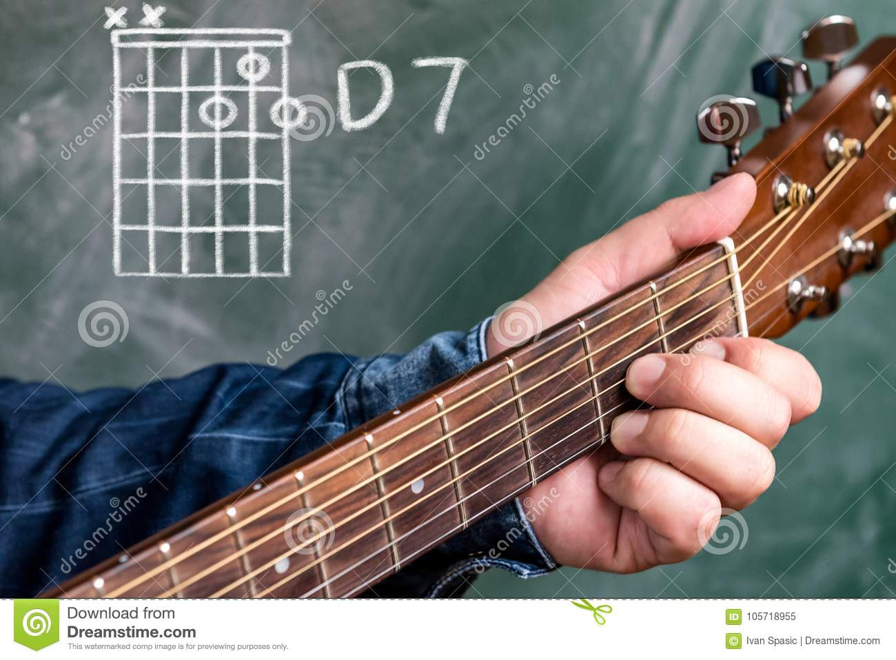 Man Playing Guitar Chords Displayed On A Blackboard Chord D 7 Stock
