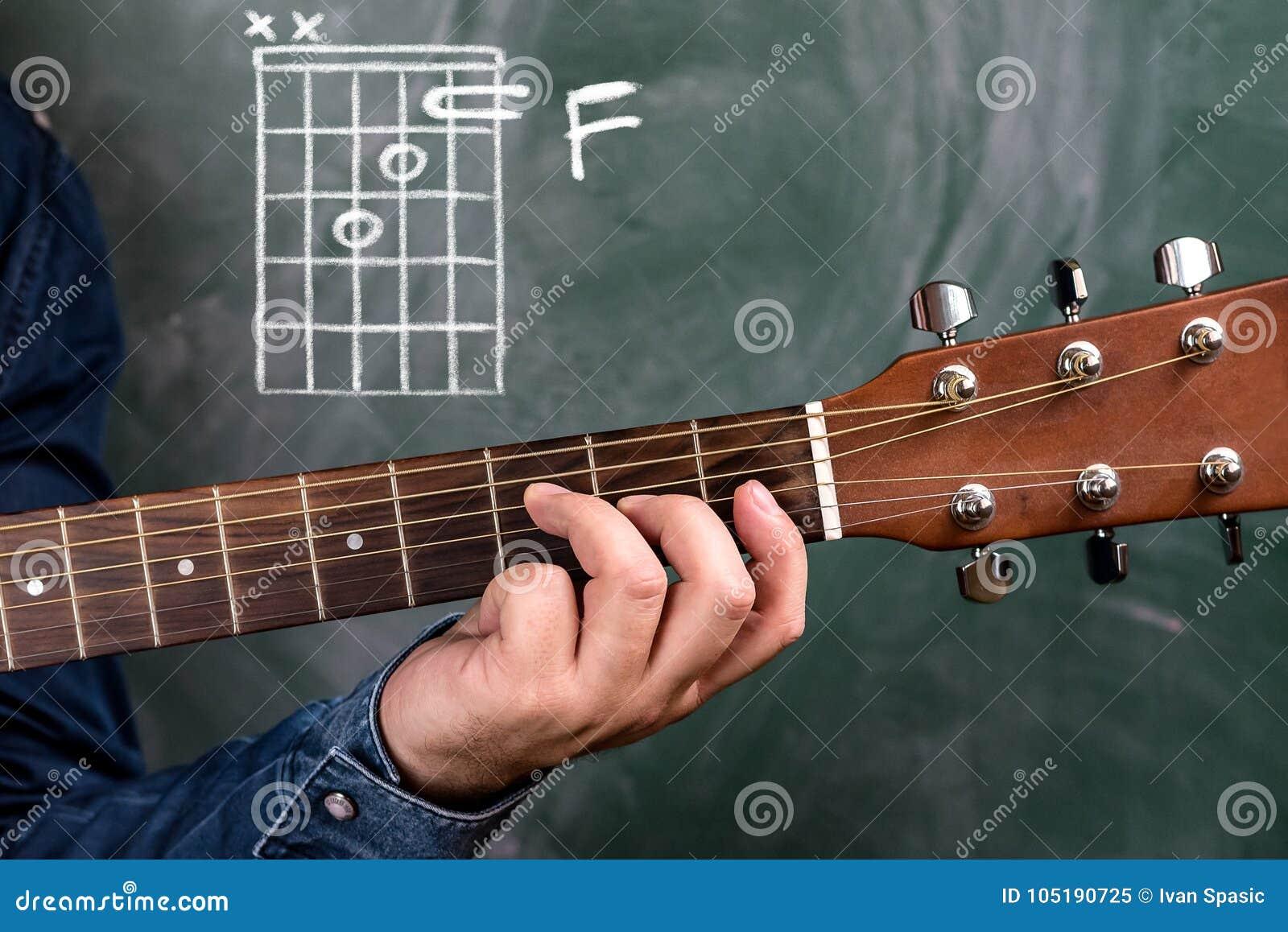 Man Playing Guitar Chords Displayed On A Blackboard Chord F Stock