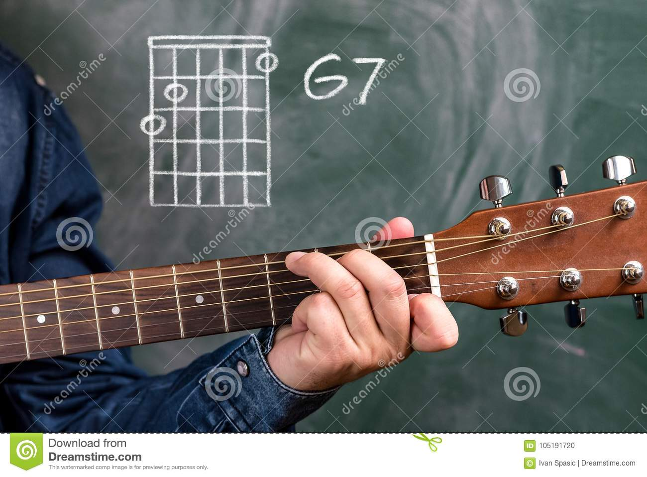Man Playing Guitar Chords Displayed On A Blackboard Chord G7 Stock