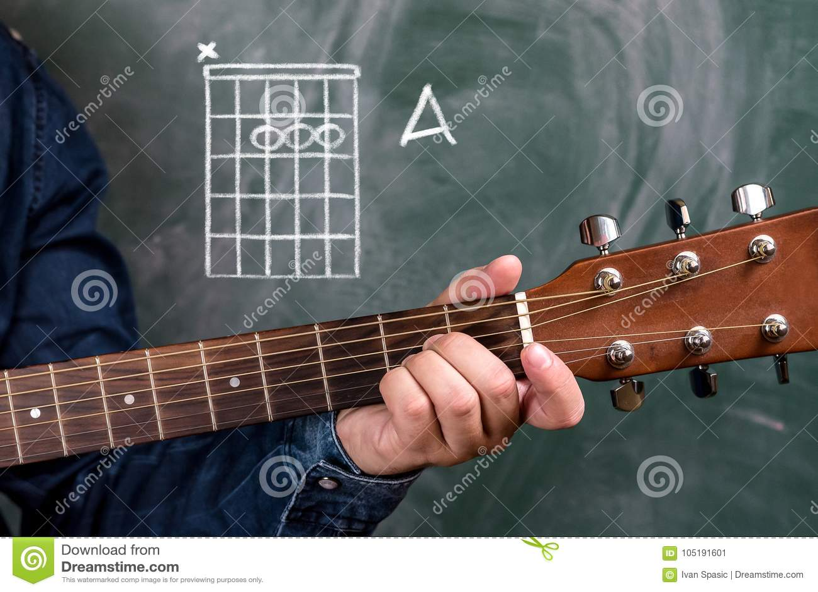 Man Playing Guitar Chords Displayed On A Blackboard Chord A Stock