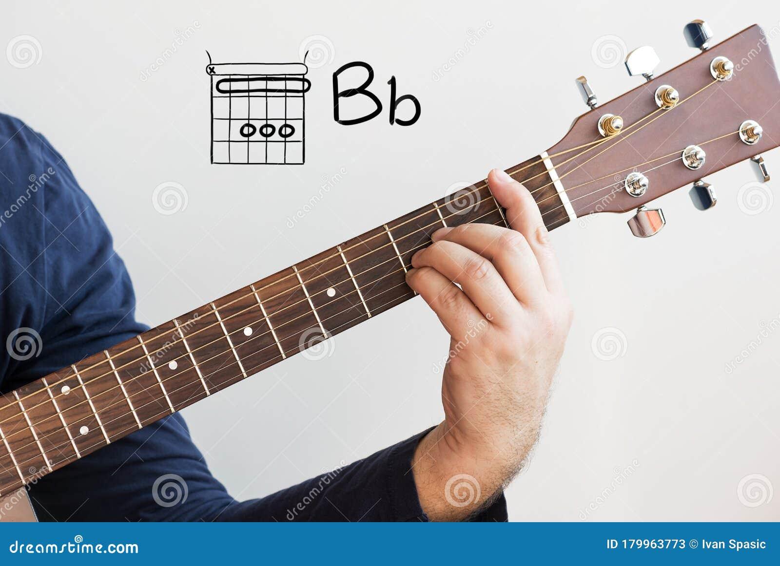 Man Playing Guitar Chords Displayed On Whiteboard, Chord B Flat ...