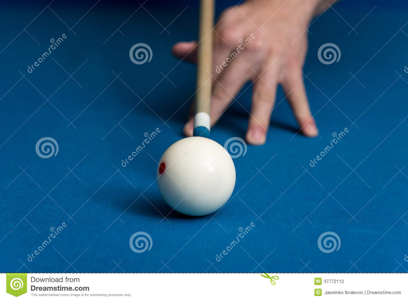Man Playing Pool About To Hit Ball Stock Photo - Image of