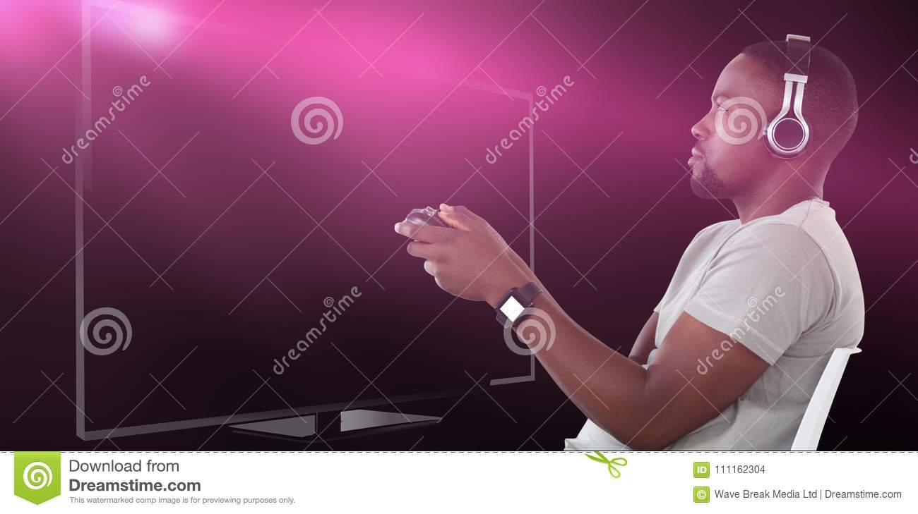 Composite image of man playing video game against white background