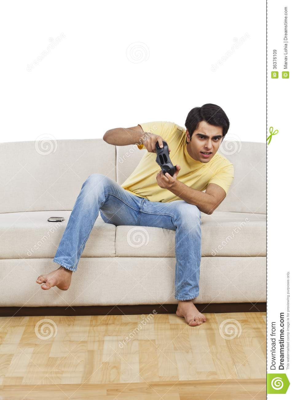 man playing video game stock image image of clothing. Black Bedroom Furniture Sets. Home Design Ideas