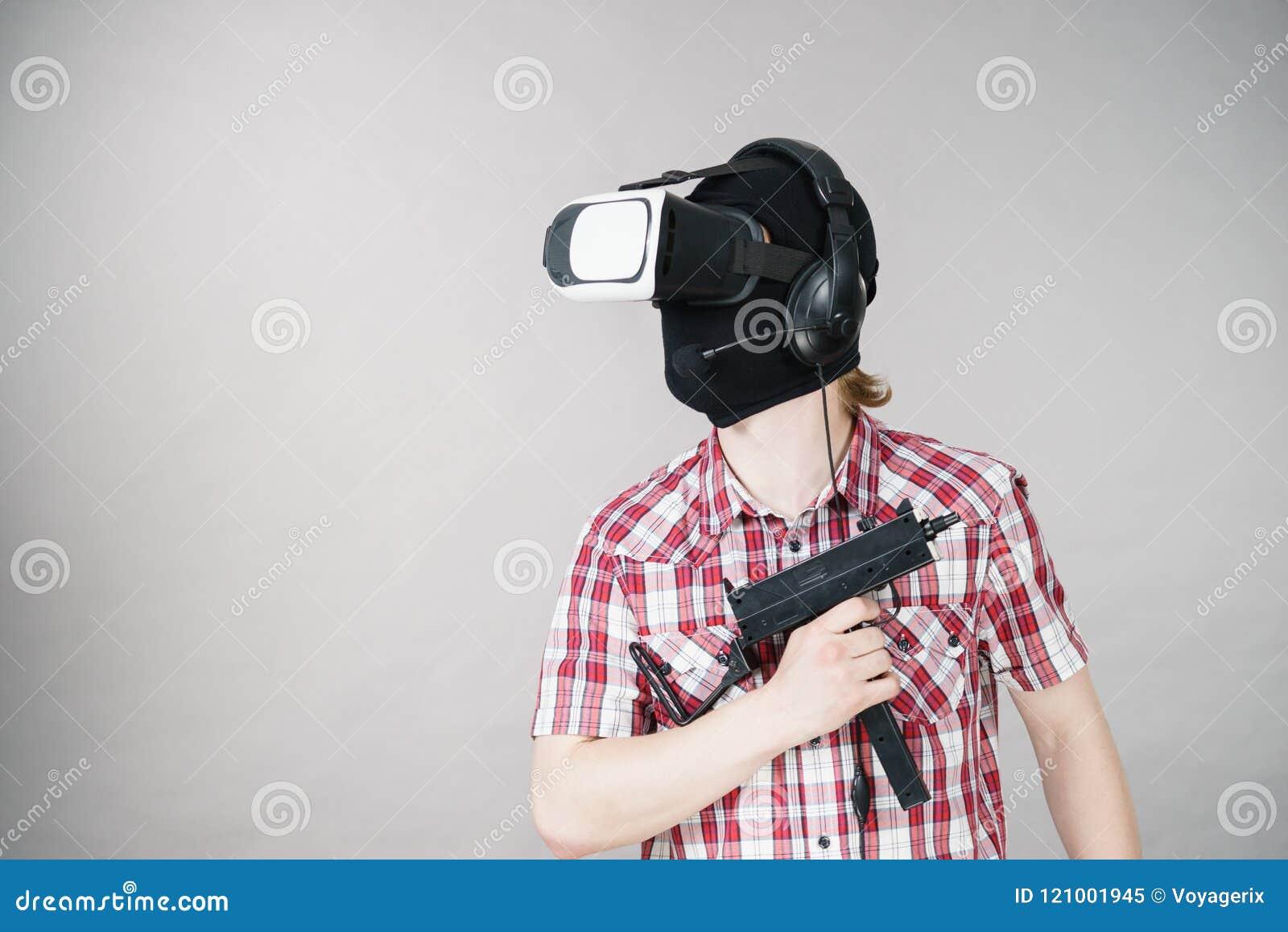 Gamer Man Wearing VR Holding Gun Stock Image - Image of futuristic