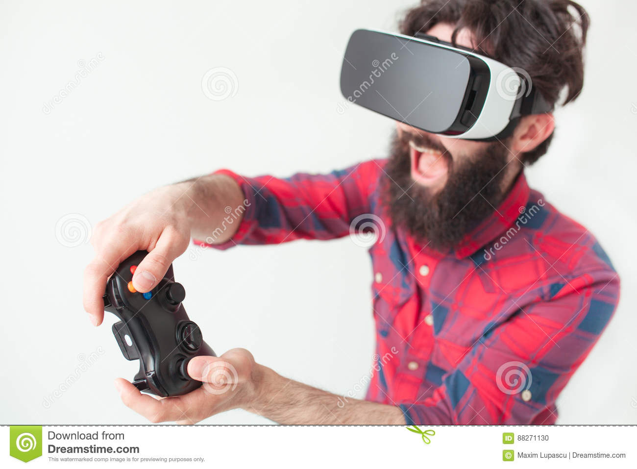 Man playing a VR game