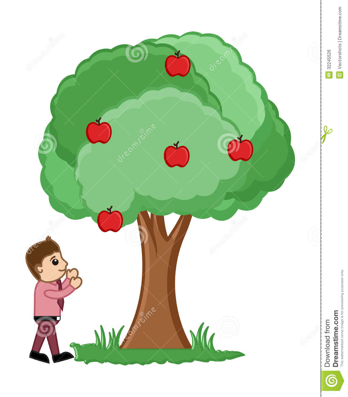 ... Hungry Man Trying to Catch Some Apples from Tree Vector Illustration
