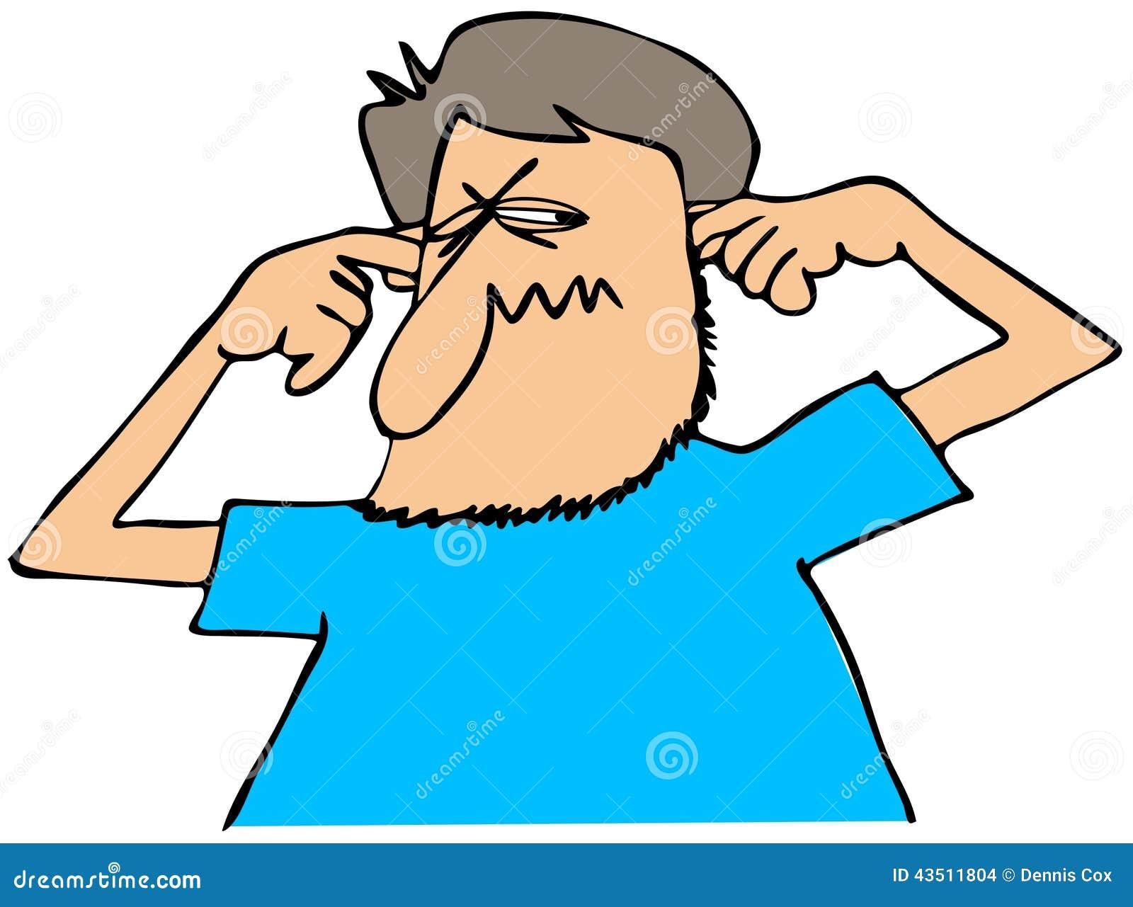 Man plugging his ears stock illustration. Illustration of ...