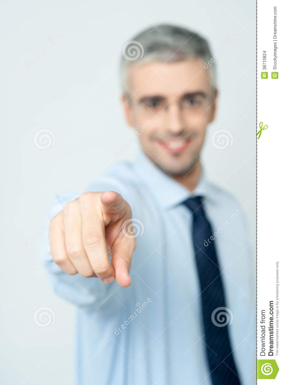 Man pointing a finger towards you