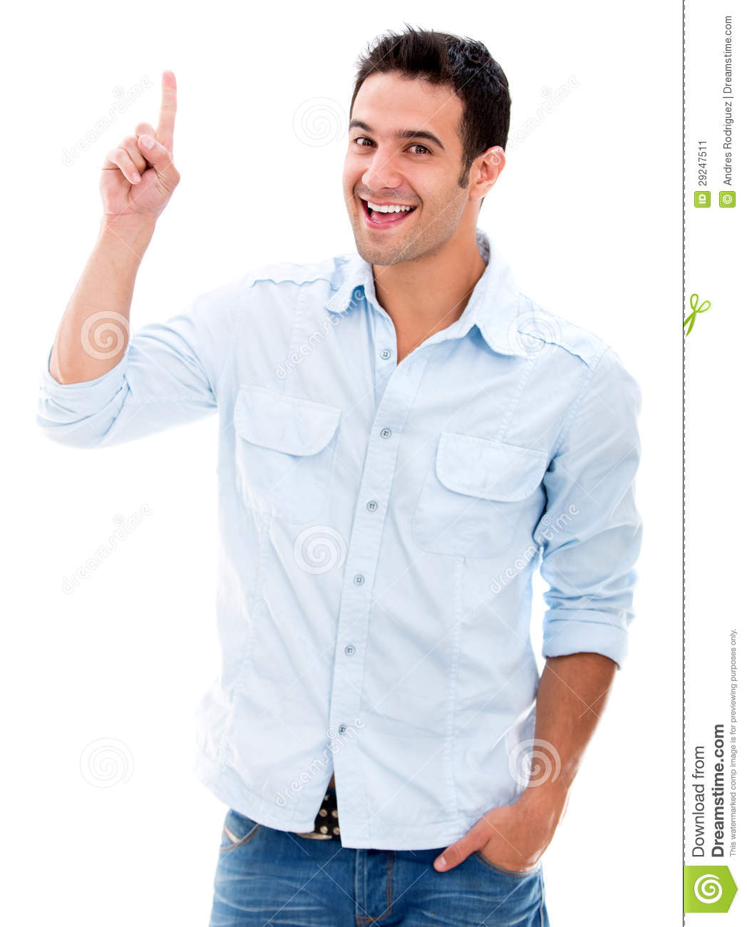 Man pointing a great i...