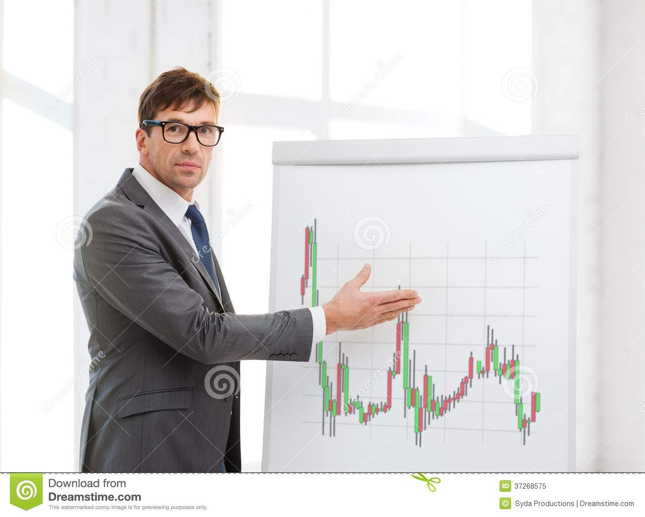 Man Pointing To Flip Board With Forex Chart Royalty Free ...