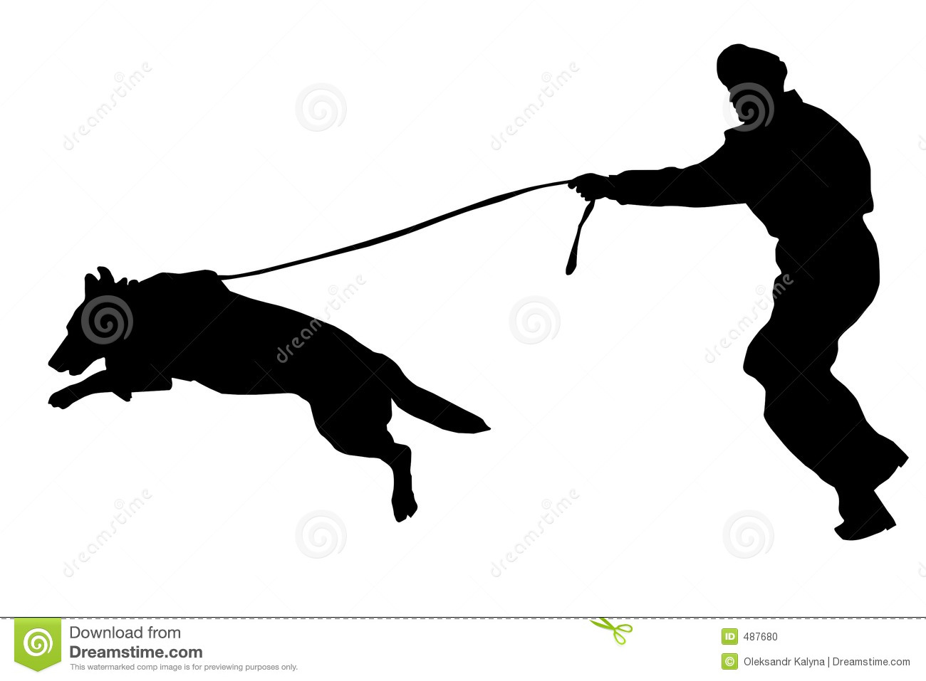 Policeman and police dog (with vector).