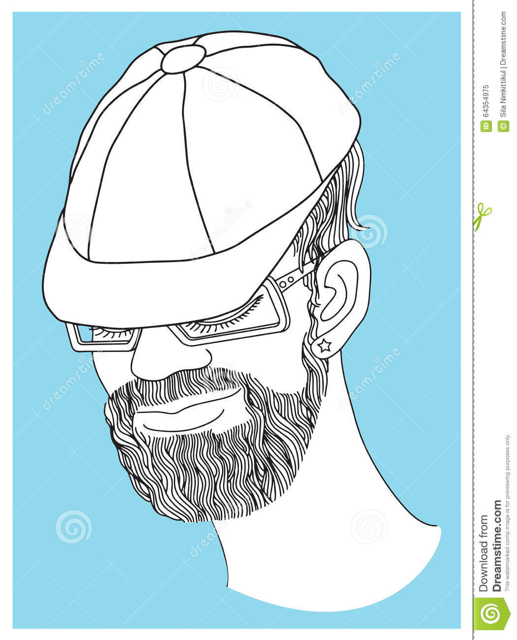 Product Design Line Art : Man portrait art line black and white stock vector image