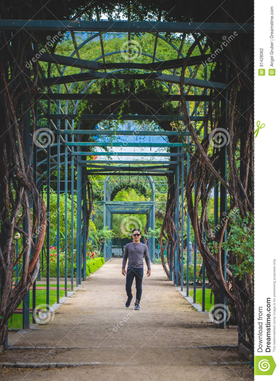 Man portrait with a Maze path in the park