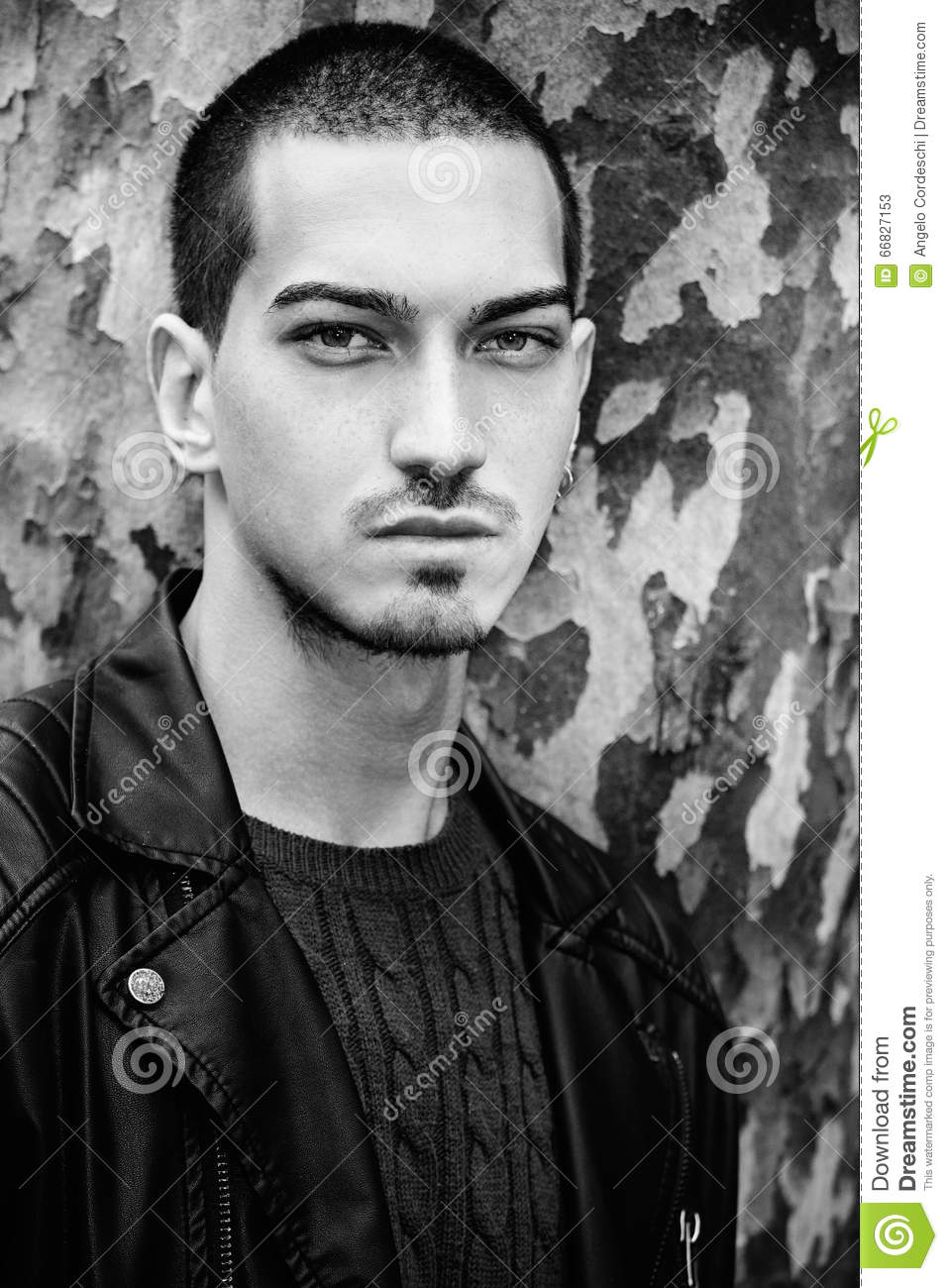 Man portrait outdoors handsome natural male black and white
