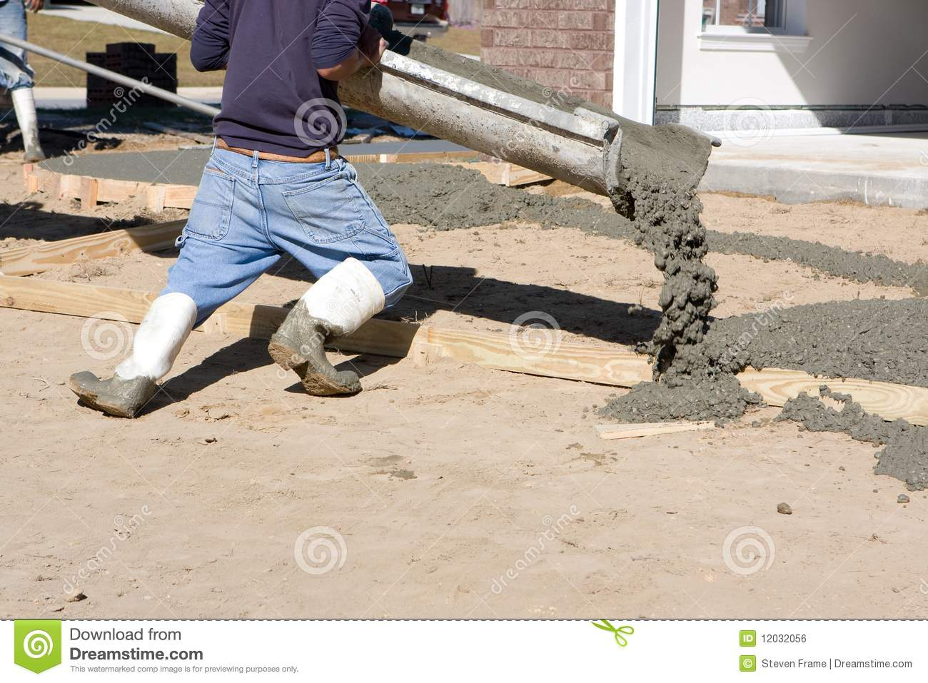 Man pouring concrete stock photo image of cement trade for Pouring concrete driveway