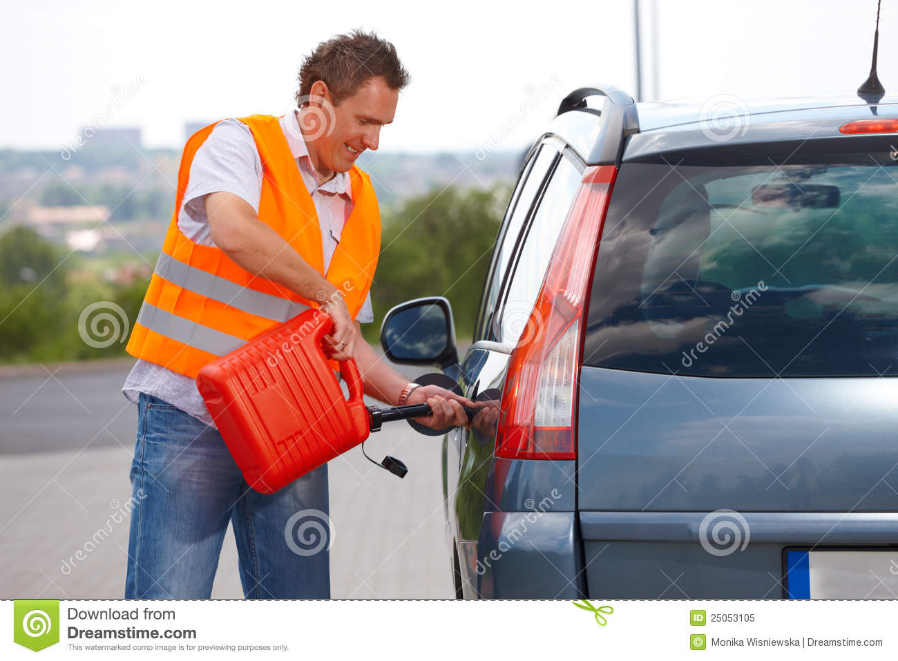 Man Pouring Fuel Royalty Free Stock Photo Image 25053105