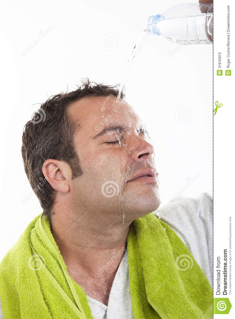 Man pouring water on himself to <b>cool down</b> after after sports - man-pouring-water-himself-to-cool-down-sports-male-fitness-concept-31642912