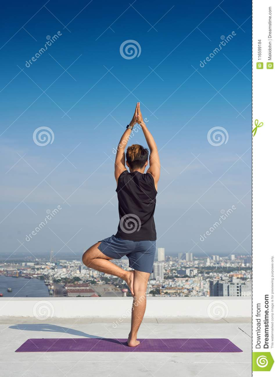 Man Practicing Advanced Yoga A Series Of Poses Lifestyle