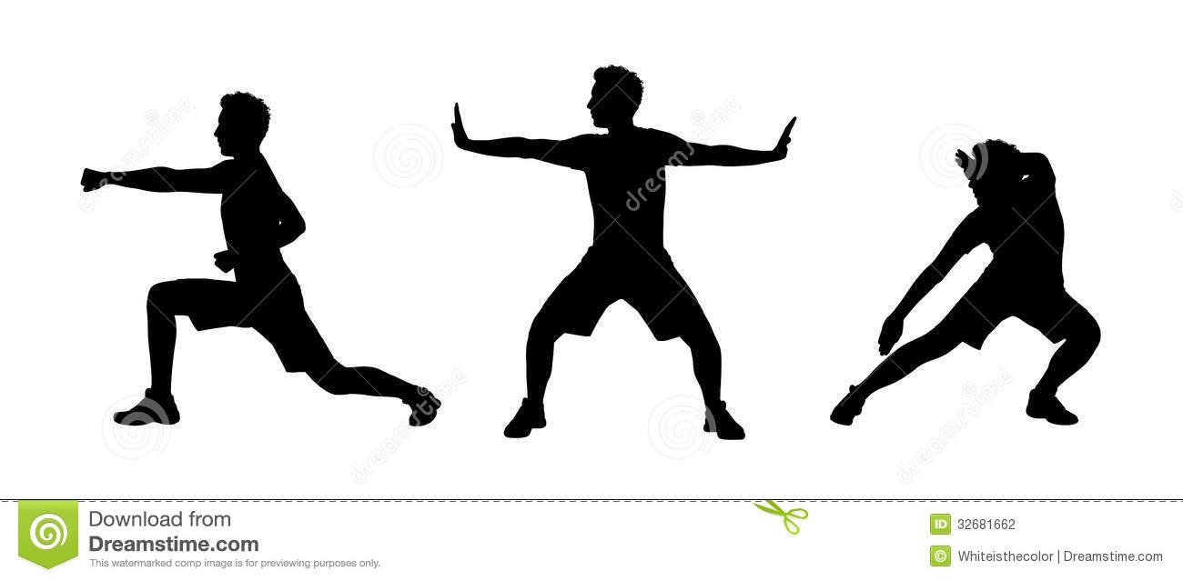 Man Practicing Tai Chi Silhouettes Set 1 Stock Photography - Image ...