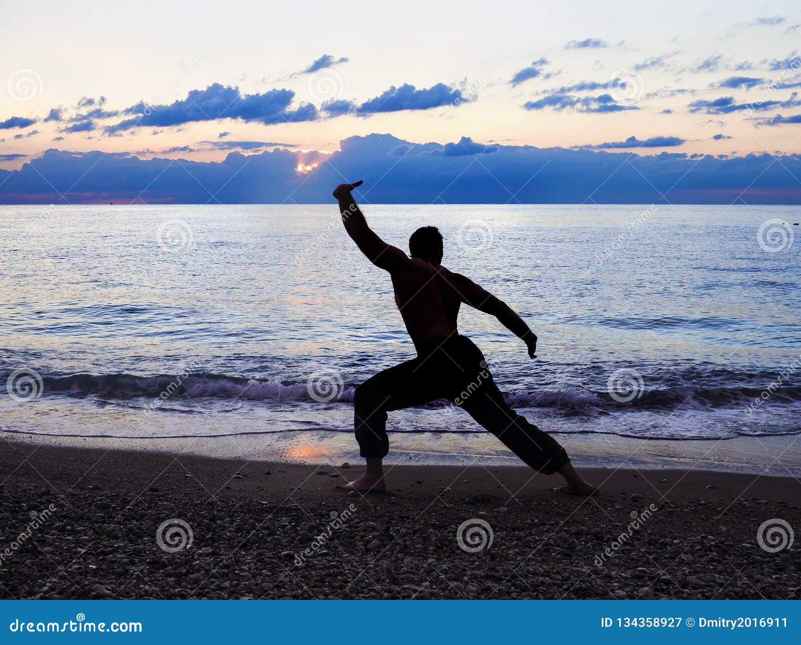 Man Practising Wushu at Sunset. Silhouette of a man on sunset.