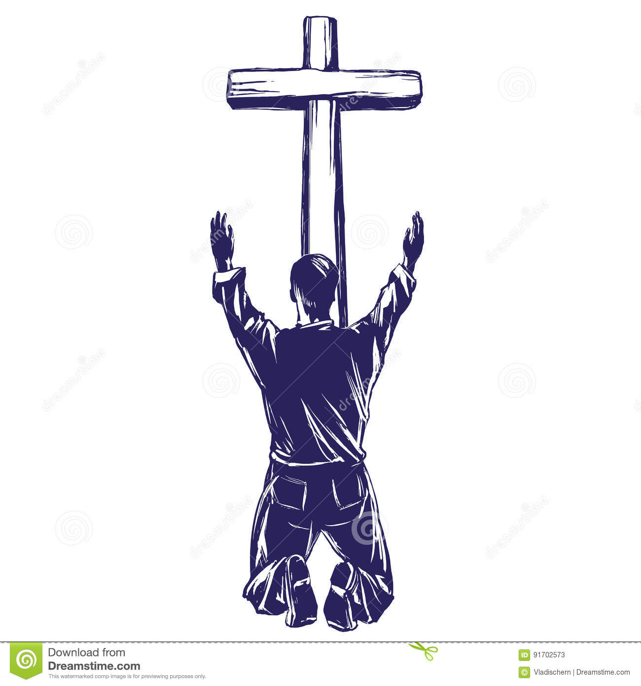 Man Praises God For The Forgiveness Of His Sins Crucified On The