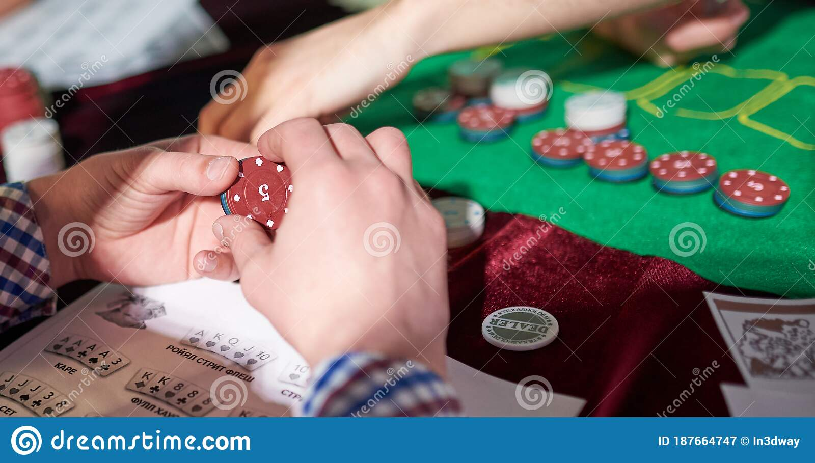 Man Prepare Place Bet With Poker Chips On Green Table Stock Image Image Of Betting Formalwear 187664747