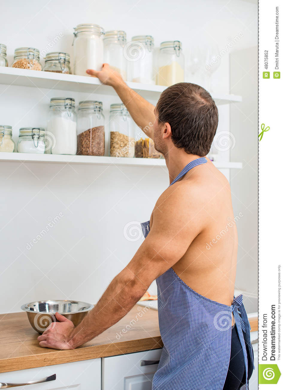 Man Preparing Food In The Kitchen. Stock Photo - Image of naked ...
