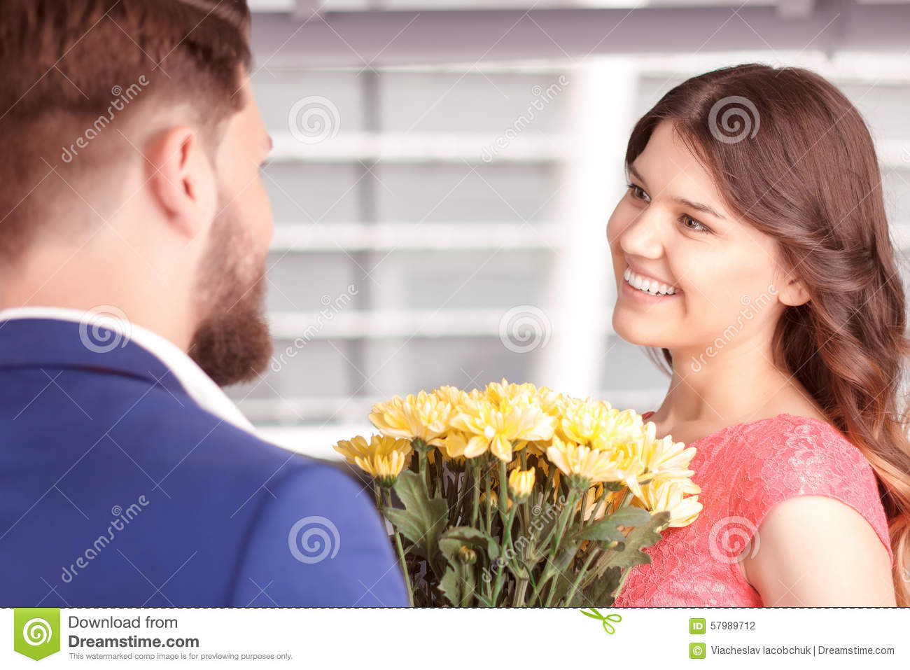 Man Presenting Flowers To His Girlfriend Stock Photo Image Of Nice