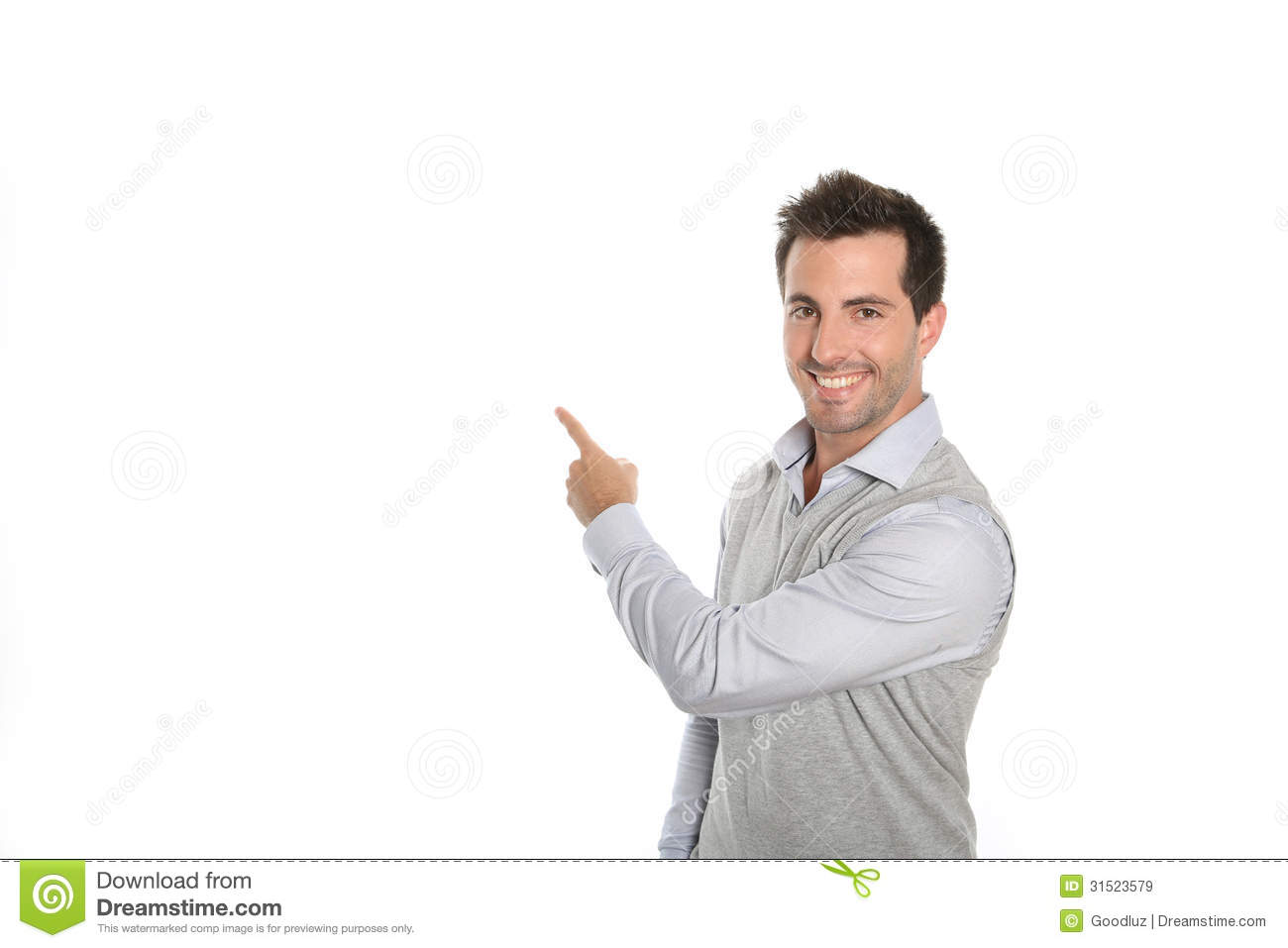 man presenting text or graphic on white background stock