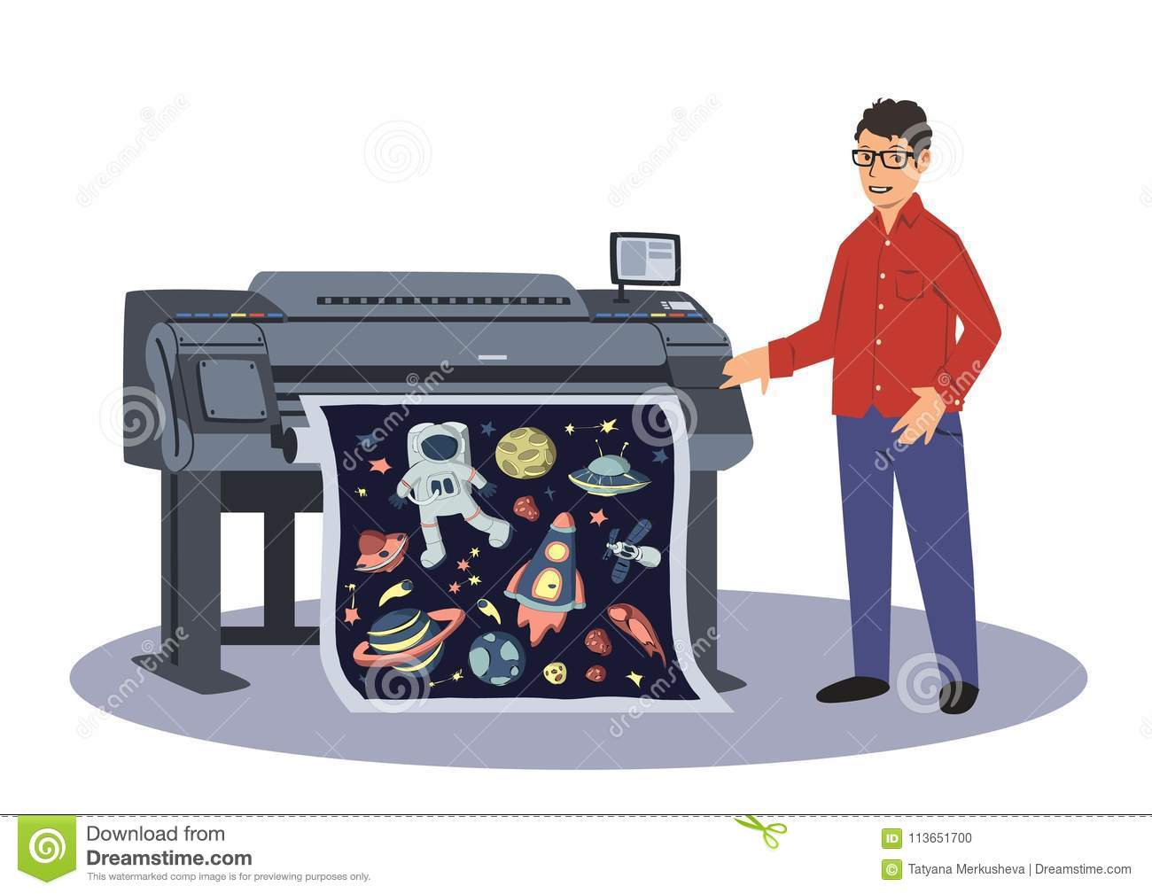 a man prints on a large format plotter printing worker vector