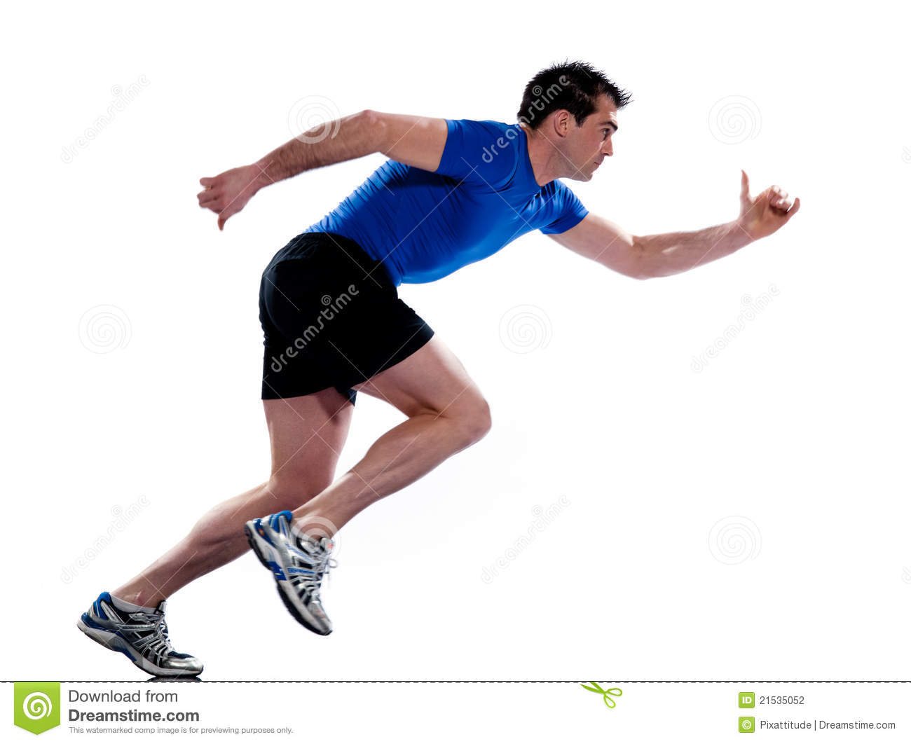 Man Profile Running Sprinting Full Length Stock ...