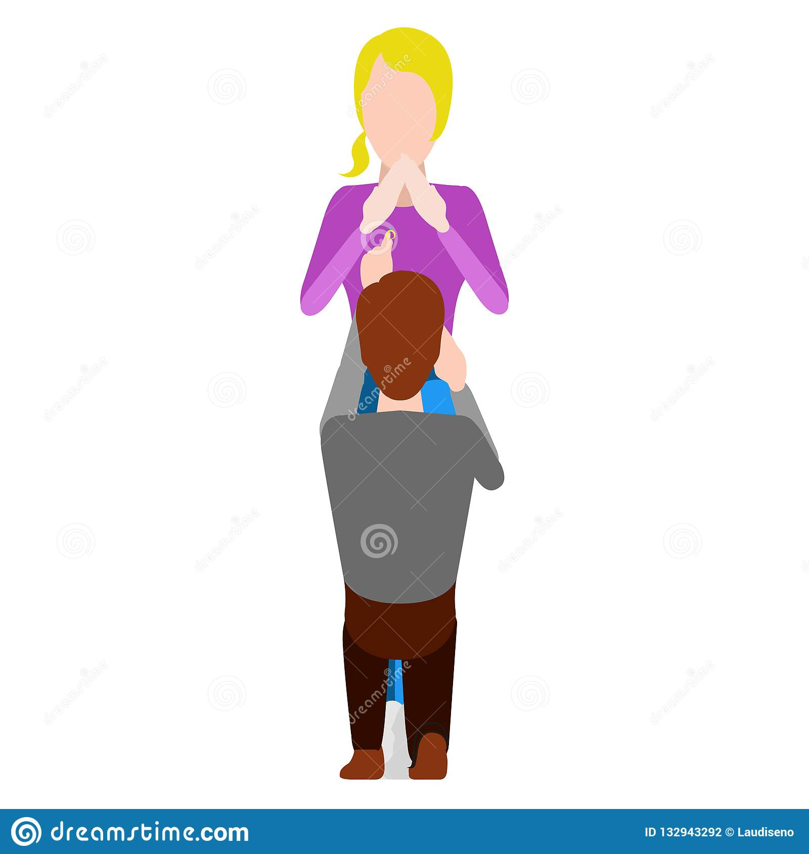 Man Proposing Marriage To His Girlfriend Stock Vector