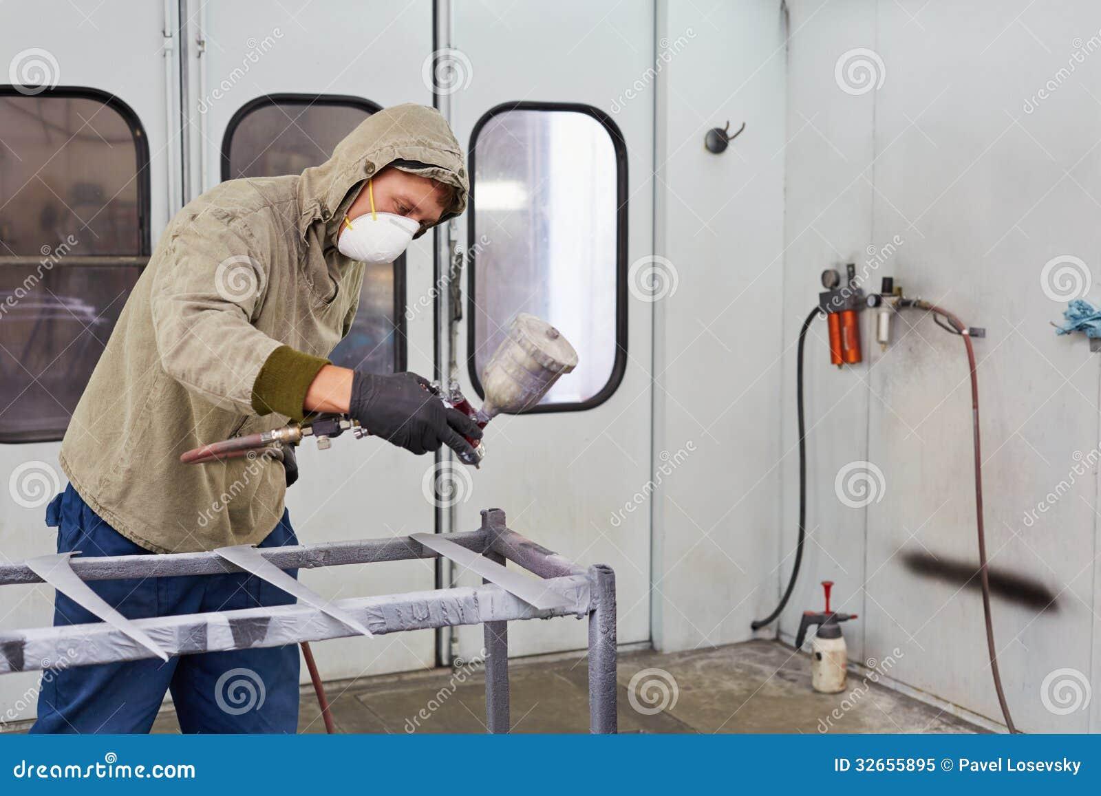 Man in protective clothes paints car details