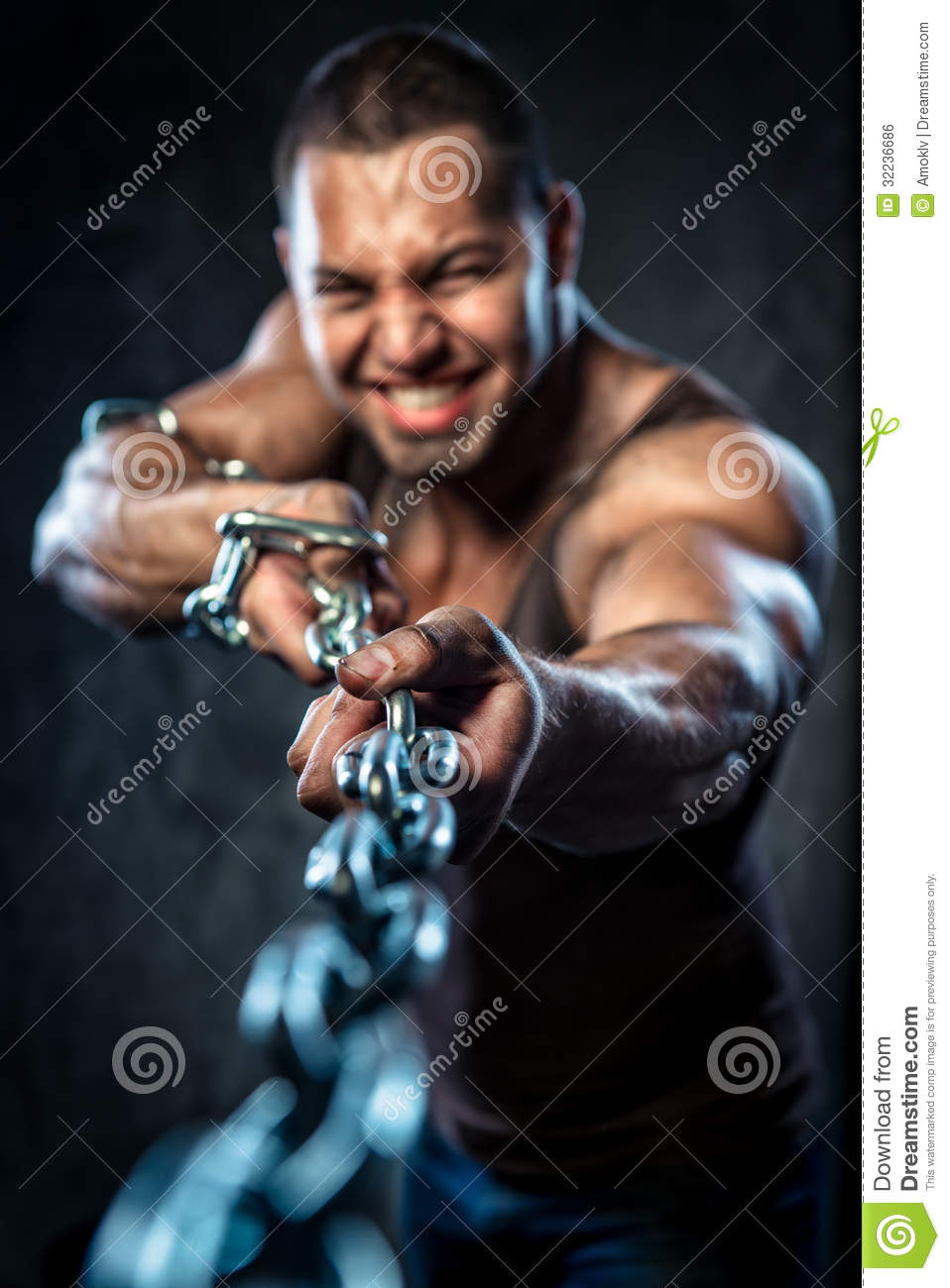 Man pulling the chain stock photo. Image of muscle, chain