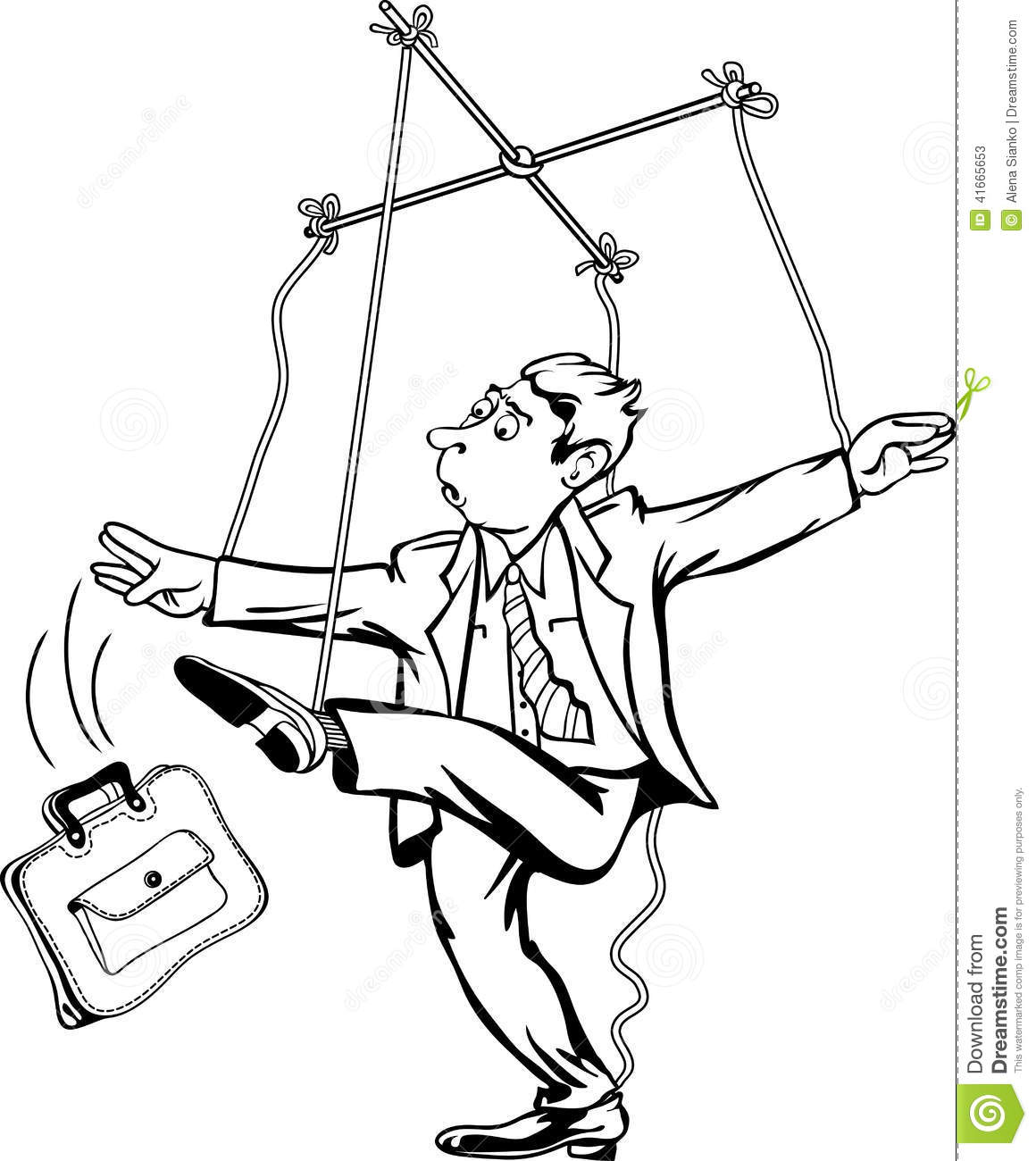 Man pulling the strings worker as a marionette puppet for Puppet coloring pages