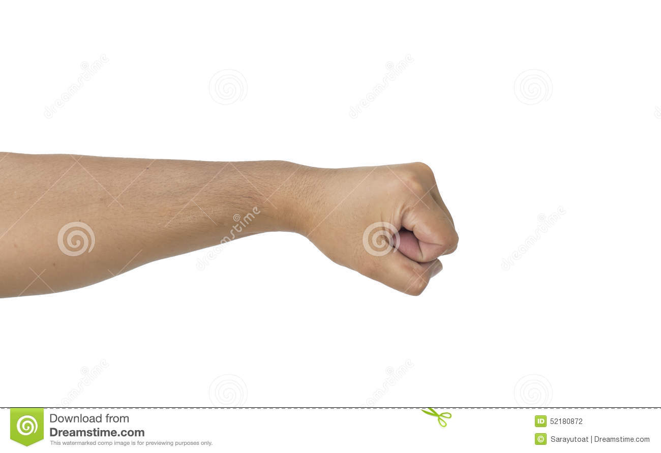 Man Punch Hand Isolated White Background Stock Photo - Image