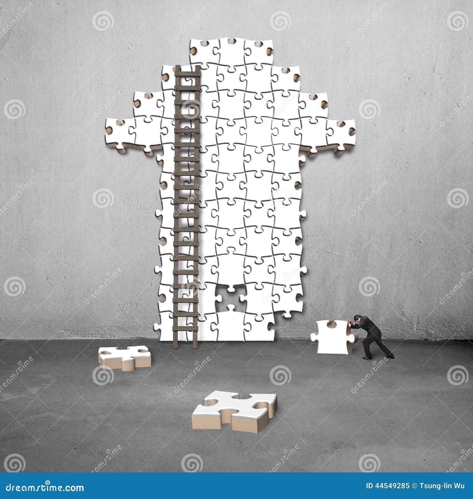Concrete Push Wall Design : Man push puzzle with arrow shape stock photo image