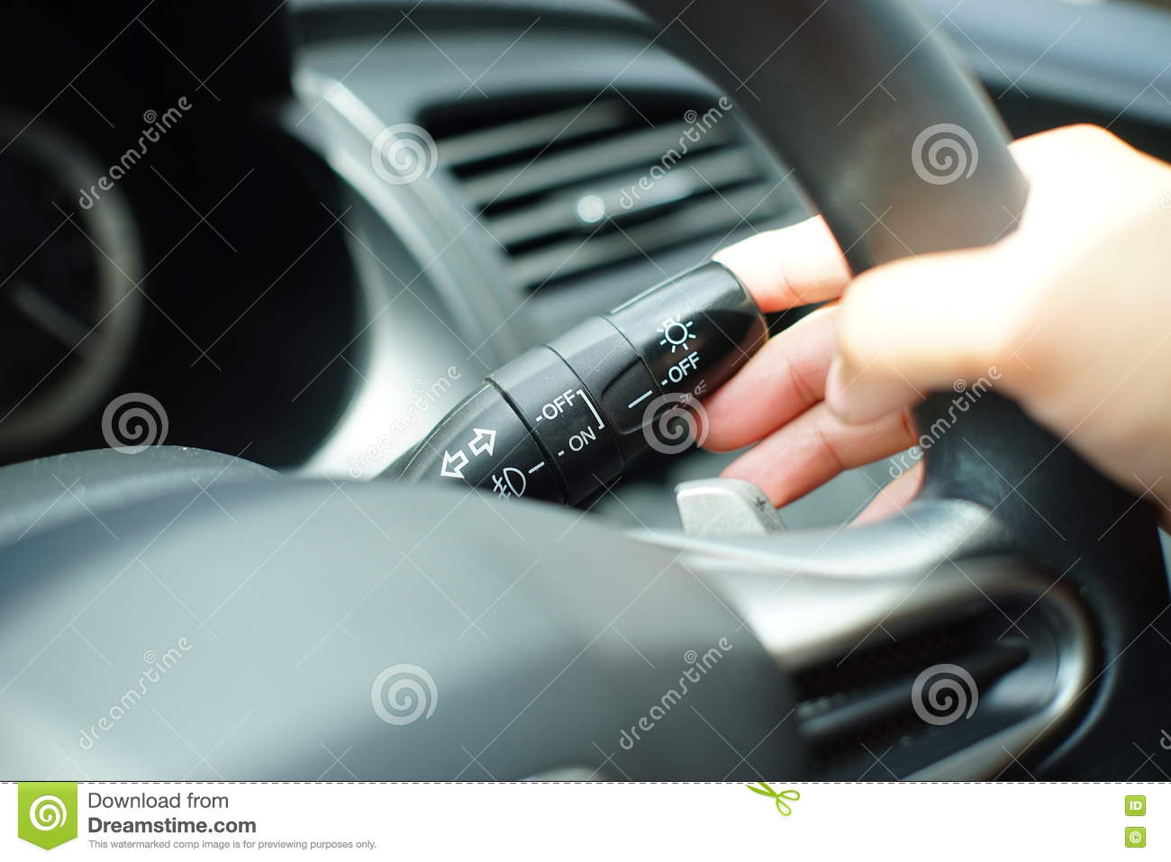Man Push Signal Light In Car Stock Photo Image - Car signal light
