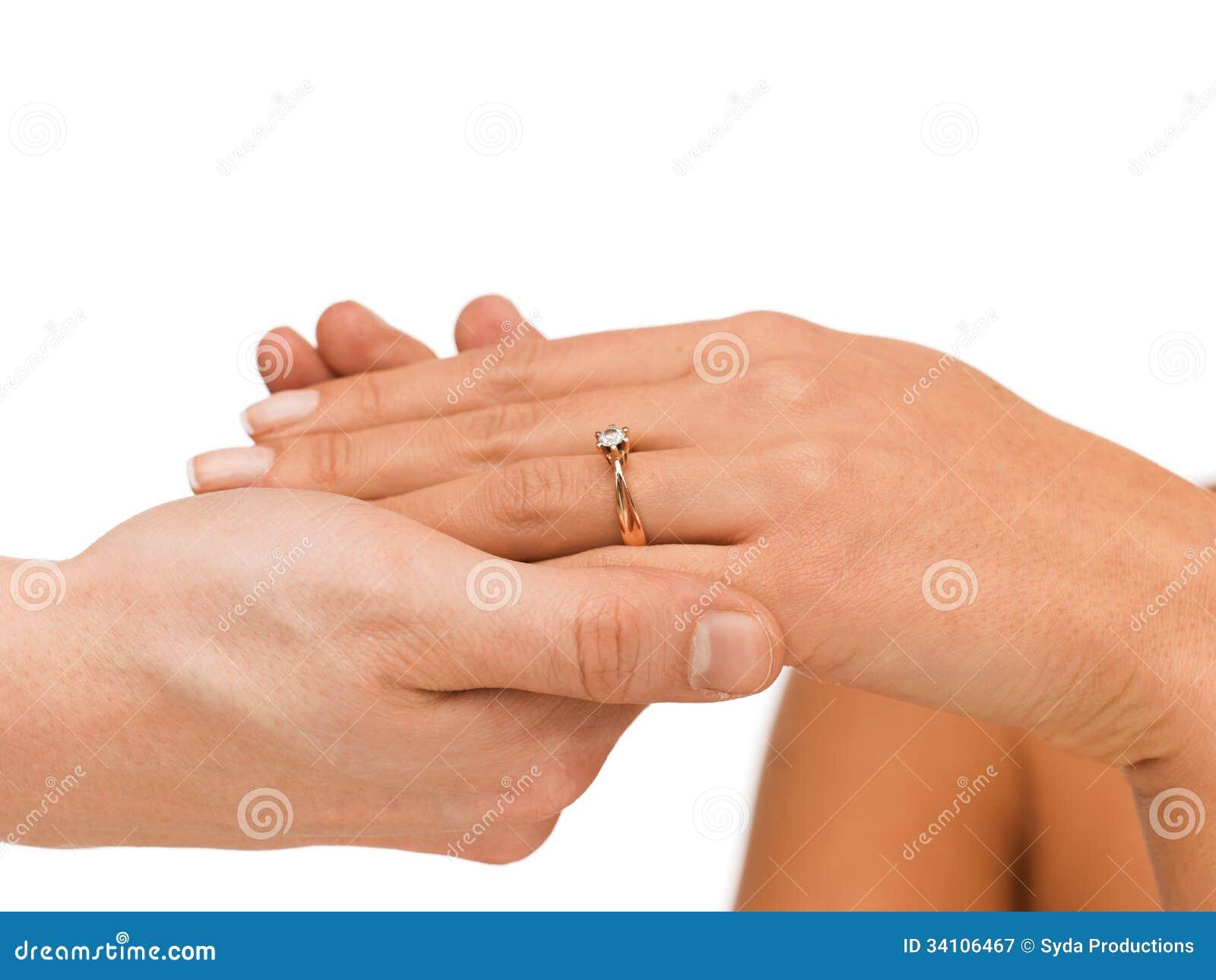 Man Puts Wedding Ring On Woman Hand Stock Image Image