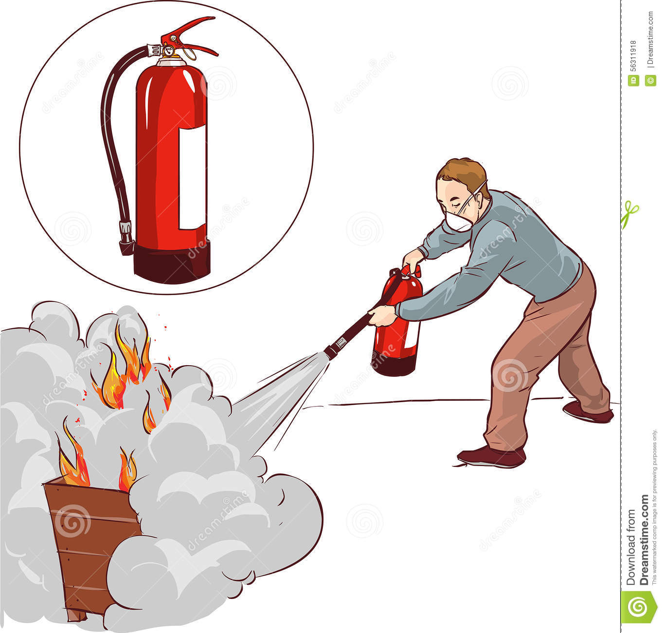 man putting out a fire stock vector illustration of safety 56311918