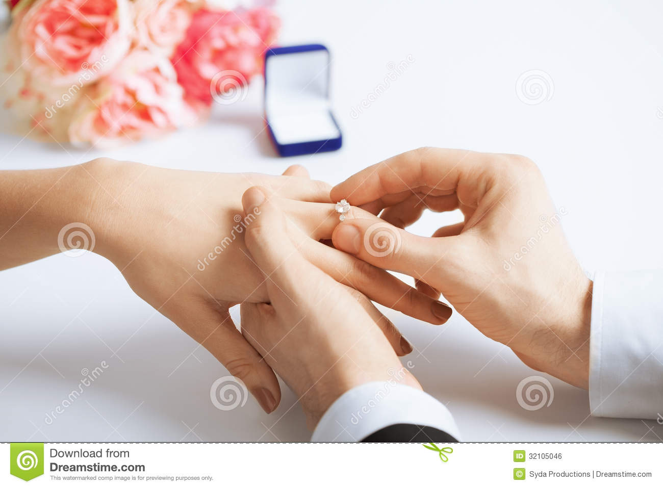 Man Putting Wedding Ring On Woman Hand Stock Photo Image Of