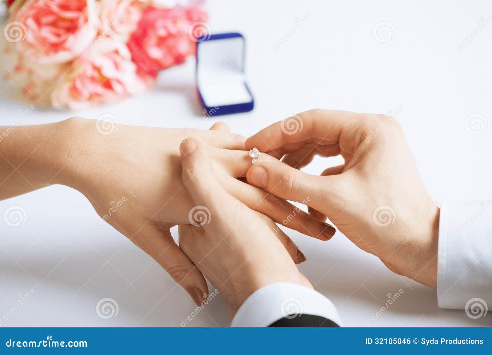 Man Putting Wedding Ring Woman Hand Royalty Free Stock Image Image 3210