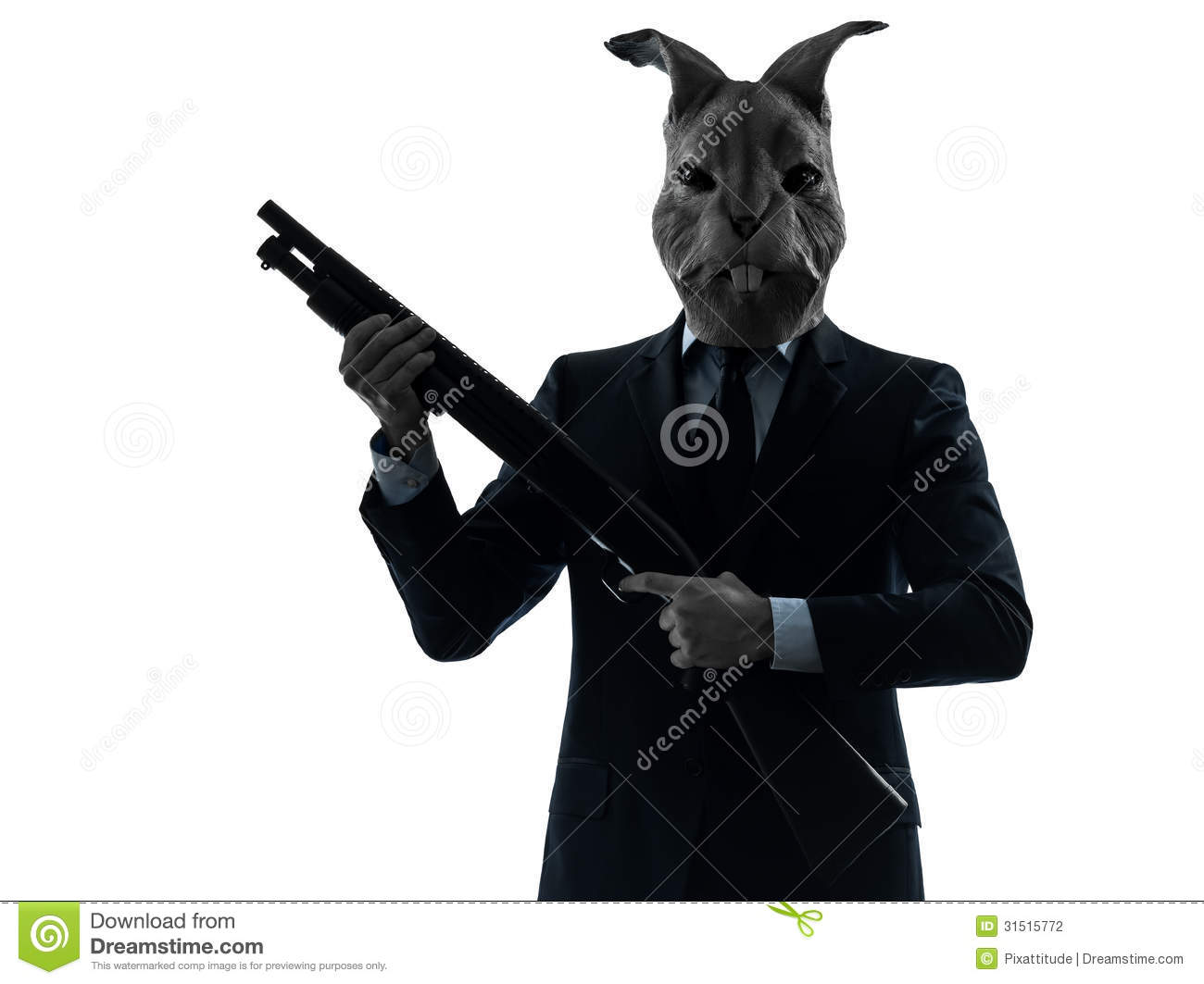 Man With Rabbit Mask Hunting With Shotgun Silhouette ...